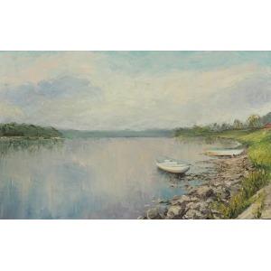Piotr Sawecki, Pejzaż wiślany z łódkami