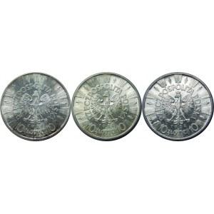 Zestaw 3 sztuki 10 złotych 1936 Piłsudski