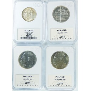 Zestaw 4 sztuk monet Sztandar, Piłsudski