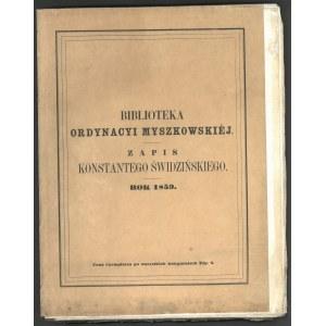 Biblioteka Ordynacyi Myszkowskiej