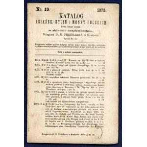 Friedlein, Katalog książek, rycin i monet polskich