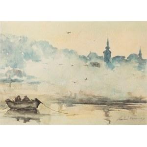Maciej Nehring (1901 - 1977), Pejzaż z łódką