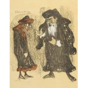 """Stanisław (Rzecznik) Szreniawa - Rzecki (1888-1972), Józef Kotarbiński jako Shylock i Stanisław Bronicz jako Tubał w sztuce Szekspira """"Kupiec Wenecki"""""""" - z """"Teki Melpomeny"""""""