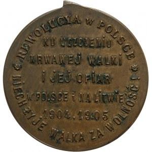 Polska pod zaborami, medal z 1905 roku, Rewolucja w Polsce 1904-1905, Precz z caratem