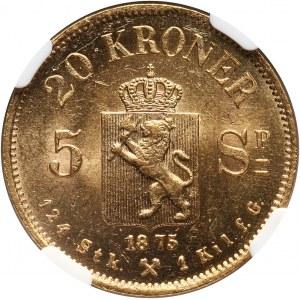 Norway, Oscar II, 20 Kroner (5 Speciedaler) 1875