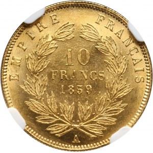 France, Napoleon III, 10 Francs 1859 A, Paris