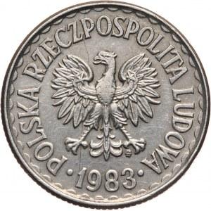 PRL, 1 złoty 1983, bez napisu PRÓBA, miedzionikiel