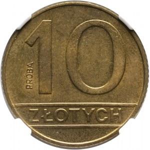 PRL, 10 złotych 1989, PRÓBA, mosiądz