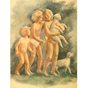 Wacław Borowski (1885 Łódź – 1954 tamże) Dzieci z owieczką i psem