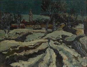 Stanisław BORYSOWSKI (1906-1988), Pejzaż z kościółkiem - Nokturn, 1931