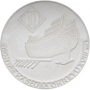 GIPS projekt medalu Stocznia Północna... Budowa okrętu XVIII w.