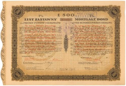 Tow. Kredytowe Przemysłu Polskiego, List zastawny na 500 funtów 1925