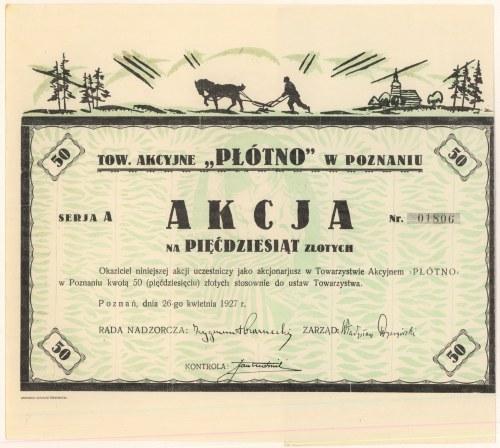 Płótno Tow. Akc. w Poznaniu, 50 zł 1927