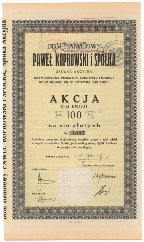 Dom Handlowy Paweł Koprowski i S-ka, Em.3, 100 zł