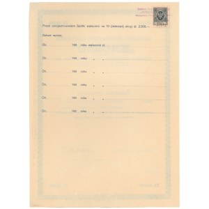 Zakłady Przemysłu Lnianego Krosno, Świadectwo tymczasowe 10x 1.000 zł 1934