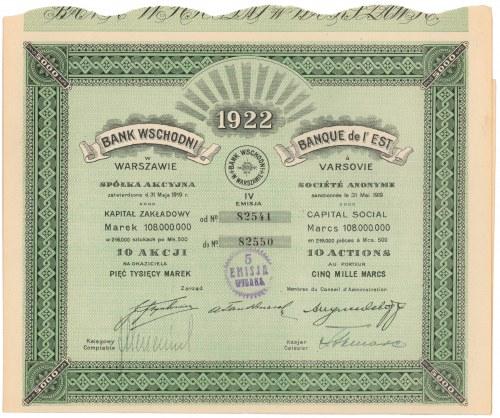 Bank Wschodni w Warszawie, Em.4, 10x 500 mkp 1922