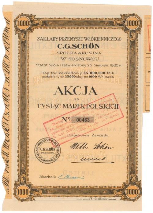 Zakłady Przemysłu Włókienniczego C. G. Schön, 1.000 mkp 1920