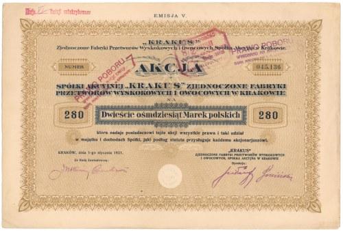 Krakus Przemysł Spirytusowy i Chemiczny, Em.5, 280 mkp 1921