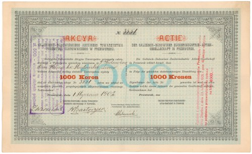 Galicyjsko-Bukowińskie..., 1.000 kr 1902 / 4.000 mkp 1921 / 500 zł 1924