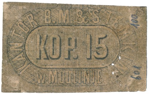 Modlin, Kantor B. M. & S. Temkin, 15 kopiejek 1861