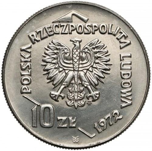Próba NIKIEL 10 złotych 1972 Port w Gdyni - tło z deseniem