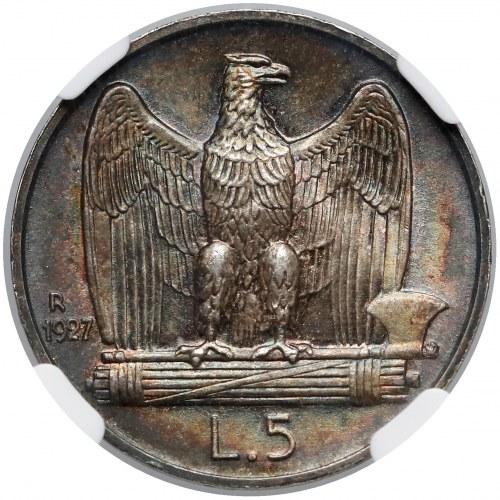 Włochy, 5 lirów 1927-R