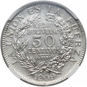 Boliwia, 50 centavos 1909-H