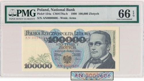 100.000 złotych 1990 - niski numer - AN 0000606