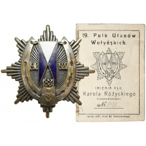 Odznaka 19 Pułk Ułanów Wołyńskich - z legitymacją