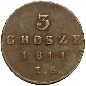 Księstwo Warszawskie, 3 grosze 1811 IS