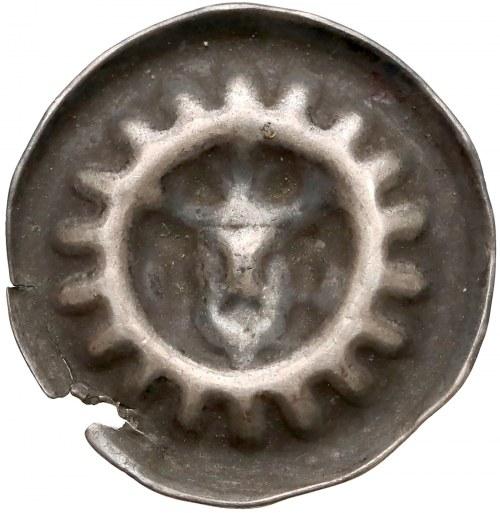 Brakteat - głowa na wprost, ukoronowana - promienisty otok - Gryfia XIV w.