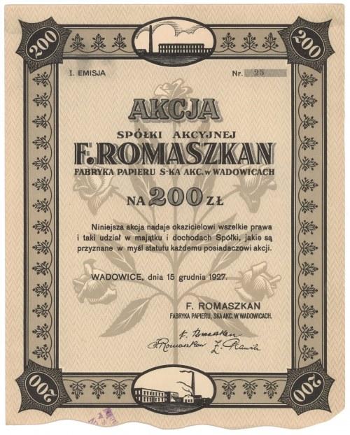 F. Romaszkan Fabryka Papieru w Wadowicach, Em.1, 200 zł 1927