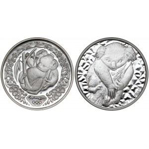 Australia, 5 dolarów 2000 i 1 dolar 2007 Koala (2szt)