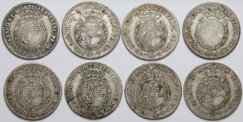 Włochy, Księstwo Sabaudii-Piemontu, Karol Emanuel III, 1/4 scudo 1755-1768 (8szt)
