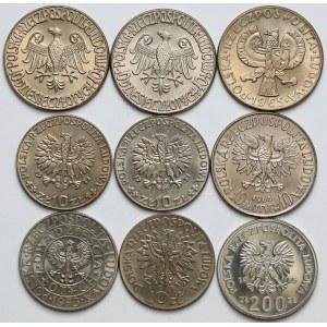 Próby CuNi i FeNi 10-200 złotych 1964-1985 (9szt)