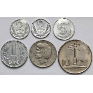 Destrukty 1-10 złotych 1965-1990, zestaw (6szt)