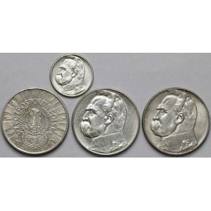 Piłsudski, Strzelecki, 2 i 10 złotych 1934-39 (4szt)