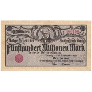 Gdańsk, 500 mln marek 1923 - druk kremowy