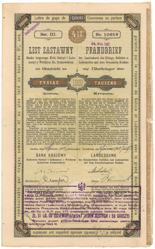Lwów, Bank Krajowy, 4.5% List zastawny 1.000 kr 1912