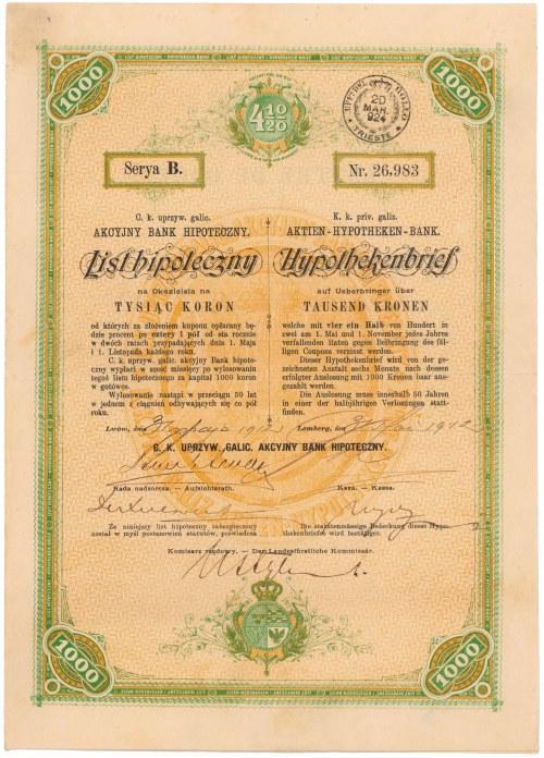 Lwów, Akc. Bank Hipoteczny, 4.5% List hipoteczny 1.000 kr 1912