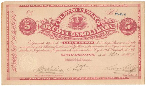 Dominikana, 5 Pesos 1876
