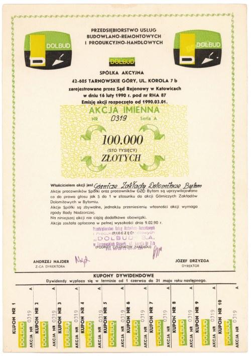 DOLBUD Przedsiębiorstwo Usług Budowlano-Remontowych..., 100.000 zł 1990