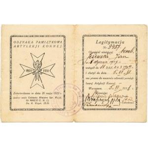 Dywizjon Artylerii Konnej, Legitymacja do odznaki z datą 1931