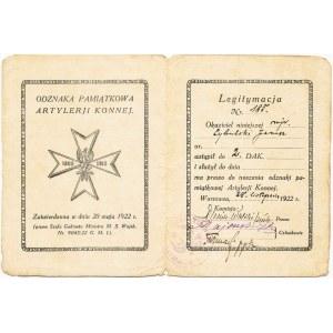 Dywizjon Artylerii Konnej, Legitymacja do odznaki z datą 1922