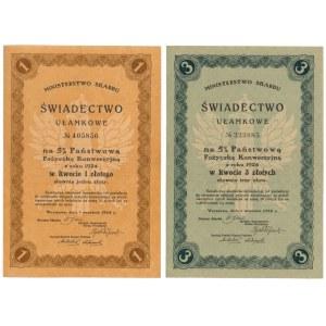 5% Pożyczka Konwersyjna 1924, Świadectwa Ułamkowe 1 i 3 zł (2szt)