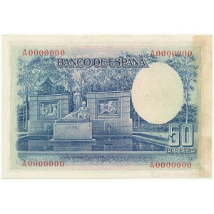 Hiszpania SPECIMEN 50 Pesetas 1935 A 0000000