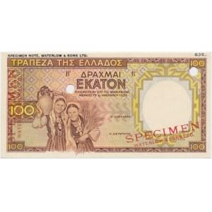 Grecja SPECIMEN - próba koloru - 100 Drachmai 1939