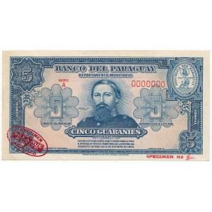 Paragwaj SPECIMEN 5 Guaranies (1943) - A 0000000