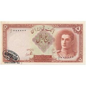 Iran SPECIMEN 5 Rials (1944)