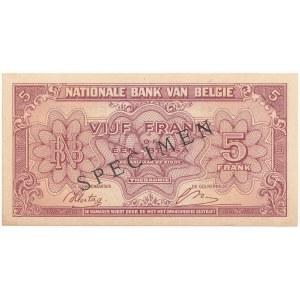 Belgia SPECIMEN 5 Francs-1 Belgas 1943 (1944)